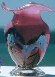 Cranberry glass vase by Gibraltar Crystal